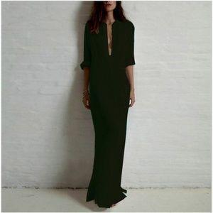 Black Maxi Dress Semi Sheer Button Down Beach/Pool